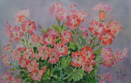 高志老师水彩画精品《盆花》