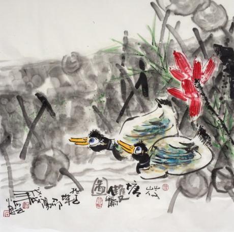 荷塘双鸭图