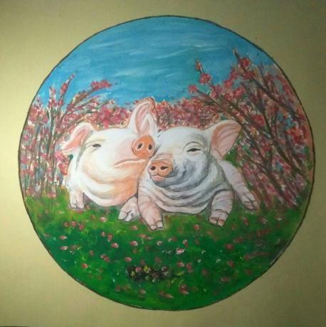 《双猪图》
