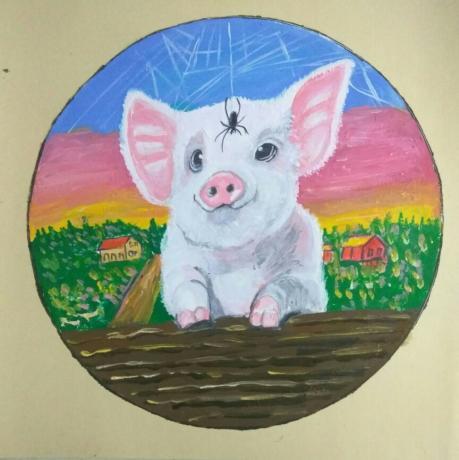 《水粉彩猪》