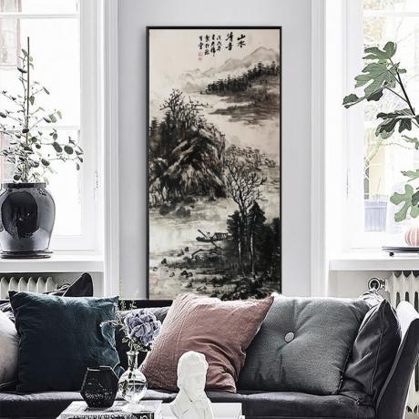 李光锦我是你的守护神山水画作品《珎有堂出品手绘保真古意山水画软片客厅玄关风水装饰挂画》