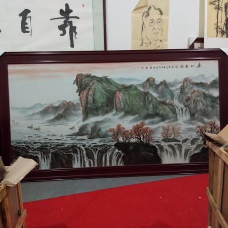 冯振旺瓷板画作品《春山秀水》