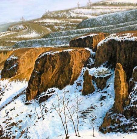 《手绘油画雪景孤品》