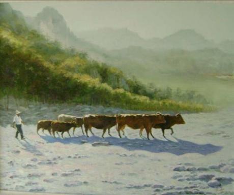 《原创油画  :太行山下牧牛忙》
