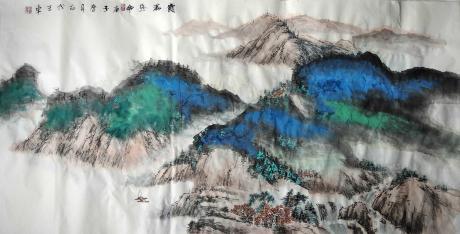 職業畫家八平尺玄關客廳畫帶風水霞滿終南