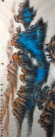 職業畫家重彩山水橫幅秦嶺霞光送一幅著名書法家八平尺書法作品內容隨機