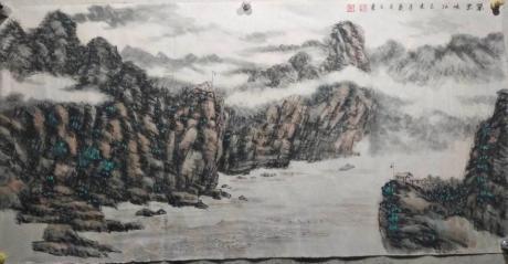 清華美院高研班畫家畫院副院長八平尺玄關客廳山水峽江雲歸送一幅著名書法家八平尺書法作品內容隨機