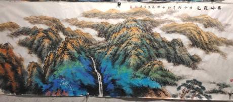 职业画家画院副院长特惠作品客厅重彩山水画12平尺