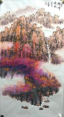 职业画家画院副院长特惠四点五平尺客厅玄关专用重彩山水