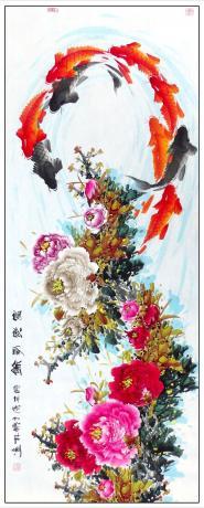 《13平尺精品牡丹鲤鱼图一一富贵有余(G1750)》