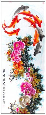 《13平尺精品牡丹鲤鱼图一一锦上添花(G1752)》