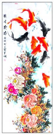 13平尺精品牡丹鲤鱼图锦上添花1792