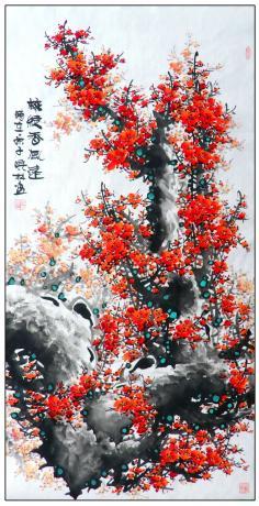 四尺中堂玄关精品红梅一一梅绽香风远1803