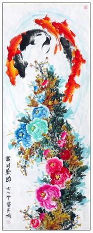 13平尺牡丹鲤鱼图一一锦上添花1810