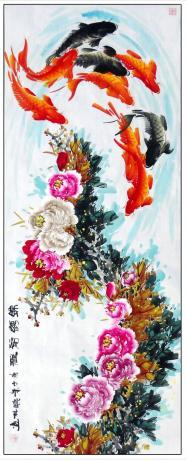 13平尺牡丹鲤鱼图一一锦绣前程1811