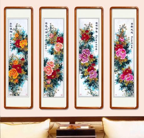 一套4条屏牡丹组图一一独领春风1839