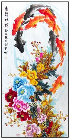 精品牡丹鲤鱼寓意画一一花开富贵1906